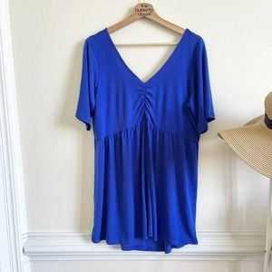 torrid 2X ELECTRIC BLUE RUCHED JERSEY KNIT TEE